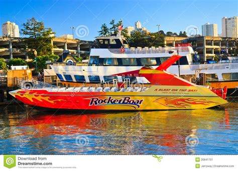 fast boat ride in san francisco rocketboat in pier 39 san francisco editorial photo