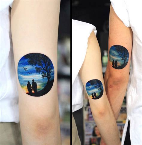 couples romantic nature circular tattoo best tattoo
