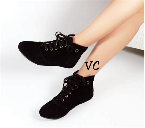 Sepatu Flat Suede Hitam jual sepatu flat wanita boot boots korea hitam faw shoes
