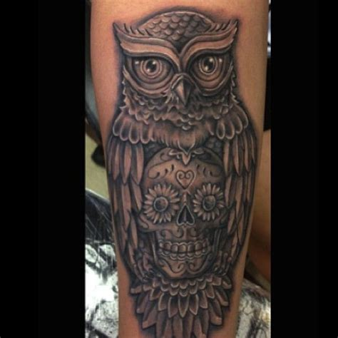 unique leg tattoo designs owl tattoos owl skull unique artistic black leg