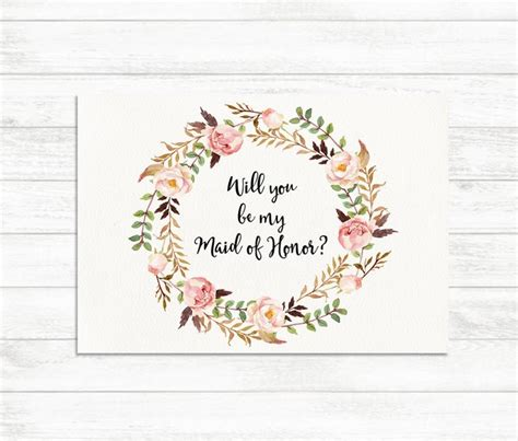 will you be my bridesmaid cards template will you be my of honor floral printable of