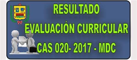resultados proceso cas n 007 2016 municipalidad municipalidad distrital de cocachacra