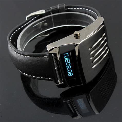 cool iron man style digital cold blue led wrist watches pu