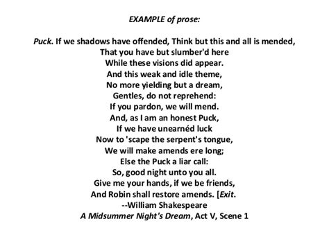 exle of prose shakespeare