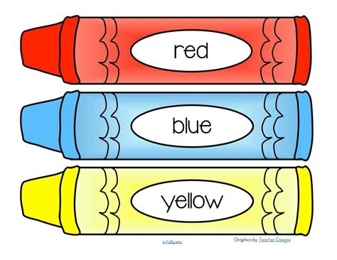 Free Color Crayon Name Card Template by Free Crayons Word Wall 11 Colors Plus A Blank B W