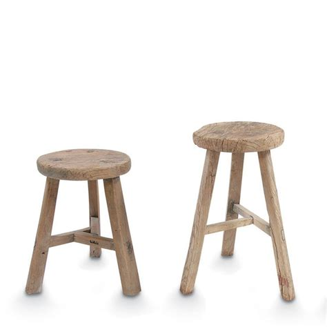 small elm wood antique stool by citta design