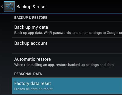 reset android data usage perform a factory reset on android device visihow