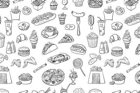 image pattern food hand drawn fast food pattern patterns on creative market