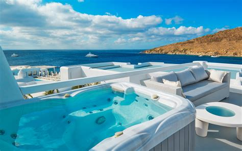 hotel with pool outside every room outdoor classic room petasos hotel spa mykonos
