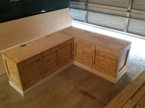 kitchen banquette seating with storage finished corner bench only thing left is the install and
