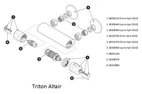 Shower Parts Names by Triton Altair Shower Spares