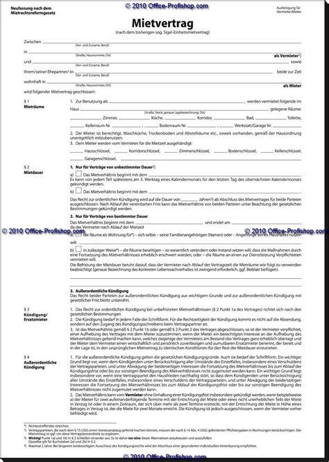 Muster Mietvertrag Gewerbe vorlage mietvertrag f 252 r wohnr 228 ume schweiz mit unserer