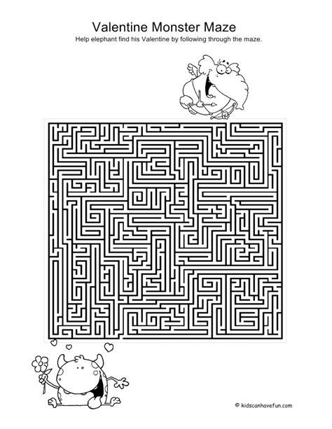 printable valentine s maze puzzles archives kidscanhavefun blog