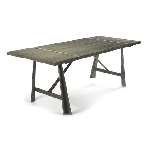 Limed Oak Dining Tables Chelsea Burnished Steel Modern Industrial Limed Oak Dining Table Kathy Kuo Home