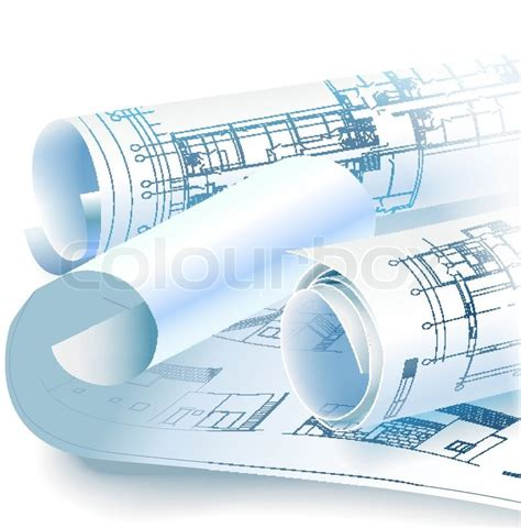 Free Home Floor Plan Designer architectural background with rolls of drawings vector