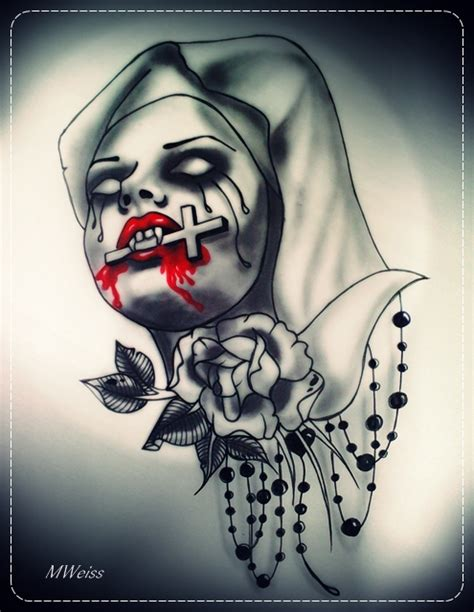 bleeding vampire nun tattoo flash by mweiss art on deviantart