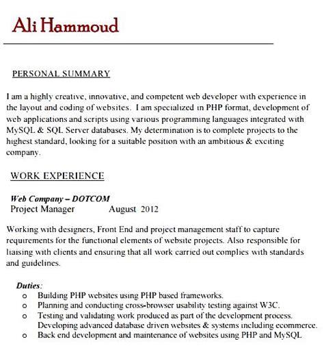 resume format for php developer sle php developer resume template free sles exles format resume curruculum