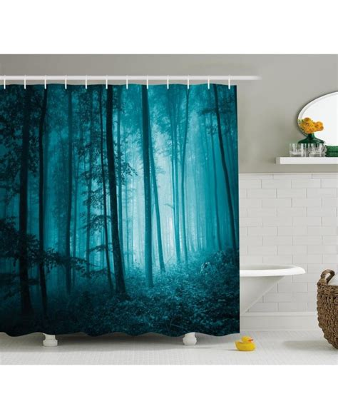 teal bird curtains teal shower curtain foggy dark country forest print for