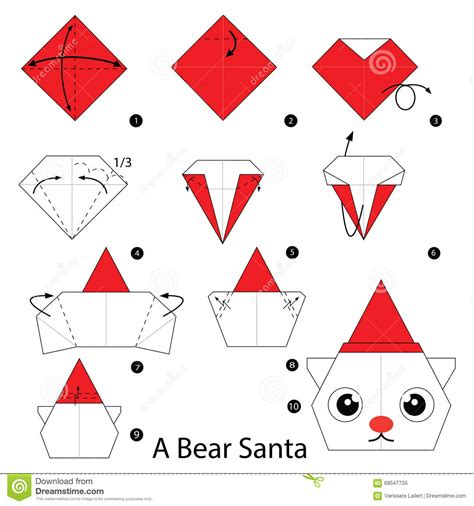 How To Make A Origami Santa - step by step how to make origami a santa