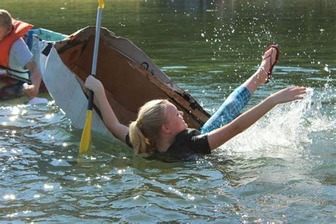 cardboard boat race rome ga cardboard boat race brings out children s ingenuity