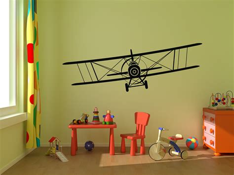 Airplane Wall Decals For Nursery Airplane Wall Decal Biplane Vinyl Wall Graphics By Stickerhog
