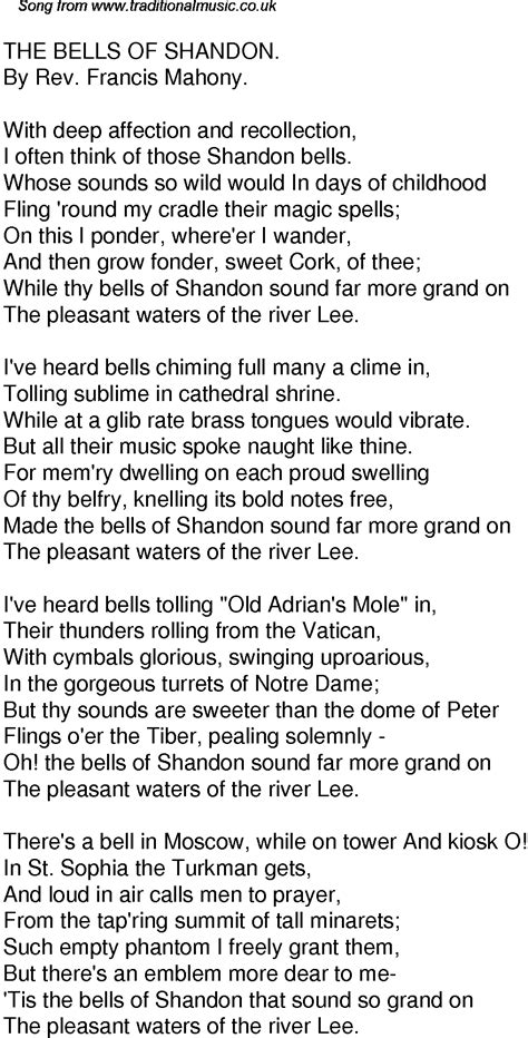 Old Time Song Lyrics for 37 The Bells Of Shandon