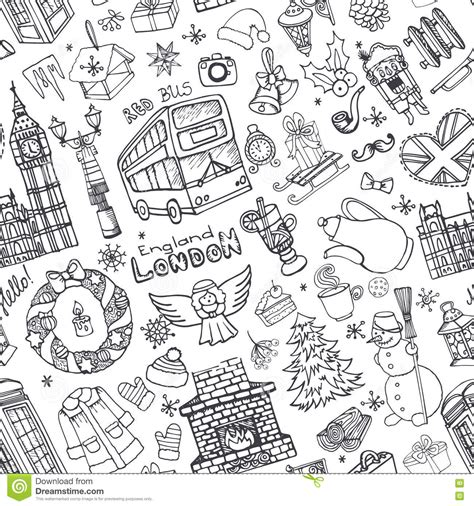 doodle pattern vector free hand drawn doodle england symbols seamless pattern vector