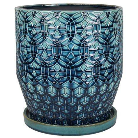 10 Ceramic Planter - trendspot 16 in dia ceramic dmg solid blue studio planter