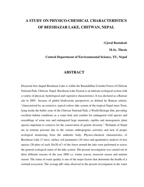 how to write an abstract for a dissertation abstract m sc thesis ujwal a study on physico chemical