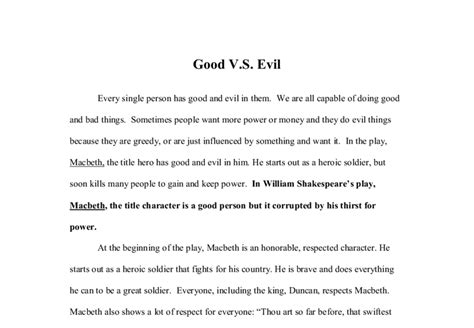 Macbeth Evil Essay by Macbeth Vs Evil Gcse Marked By Teachers