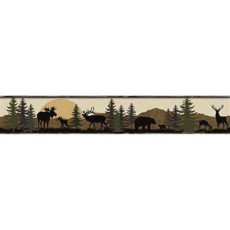 Wallborder Wallpaper List Kode 1004 York Wallcoverings Lake Forest Lodge Scenic Silhouette