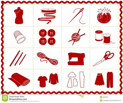 crafts stock images royalty free images vectors sewing craft icons red silhouette royalty free stock