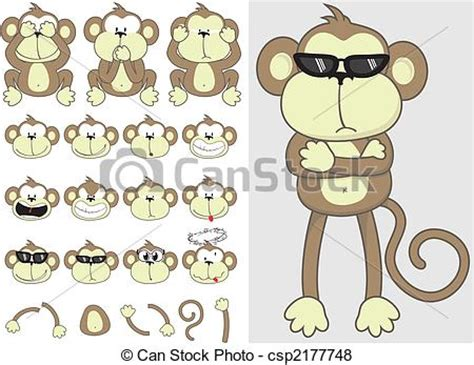vector of cute monkey set monkey faces and body parts