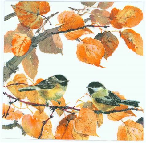 Decoupage With Leaves - decoupage paper napkins of autumn colors and birds