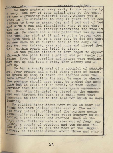1932 Canoe Trip Diary Section 5