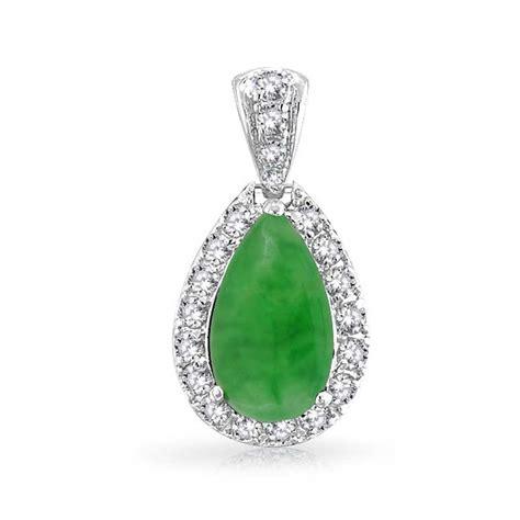 Jade Pendant Necklace gemstone vintage style green jade teardrop pendant cz