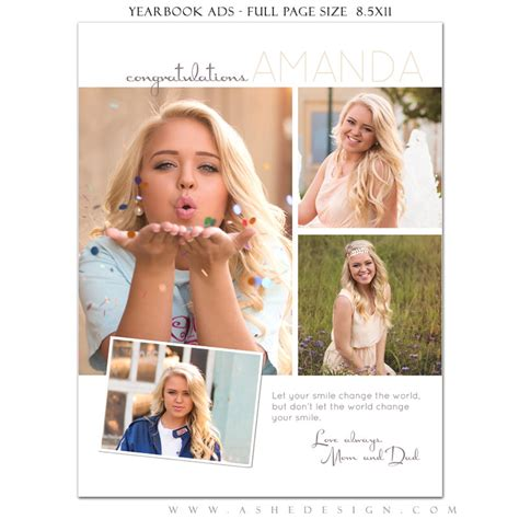 Parent Wedding Album Layout by Senior Yearbook Ads Photoshop Templates Your Smile High