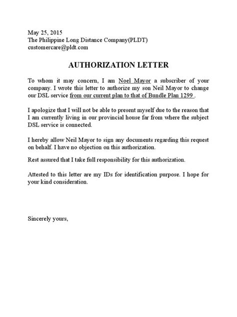 Letter Of Pldt pldt authorization letter sle free doc the