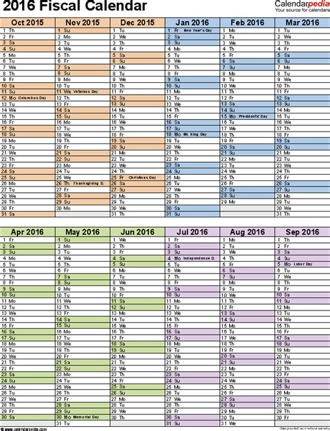 fiscal calendars 2016 as free printable pdf templates