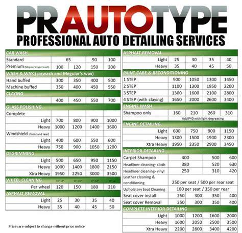 Auto Detailing Quotes Quotesgram Car Detailing Price List Template