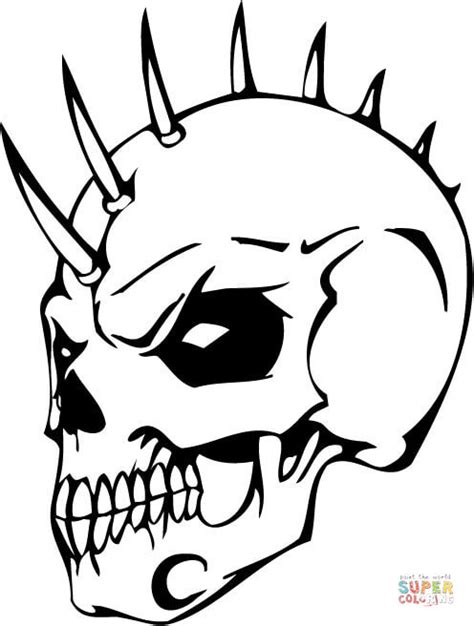 Sticker Cutting Terror Skull evil skull with bonehawk coloring page free printable