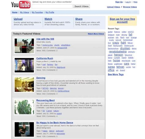youtube layout evolution vid 233 o l 233 volution du design youtube de 2005 224 aujourd hui