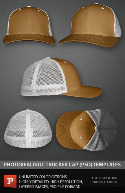 Flex Trucker Cap Template Photoshop Psd Cap Design Template