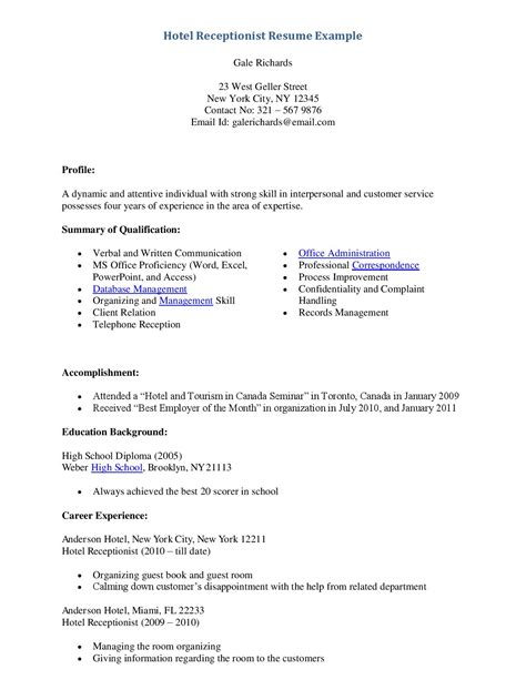 Resume For Hotel Administrative Assistant Receptionist Admin Resume Sales Receptionist Lewesmr