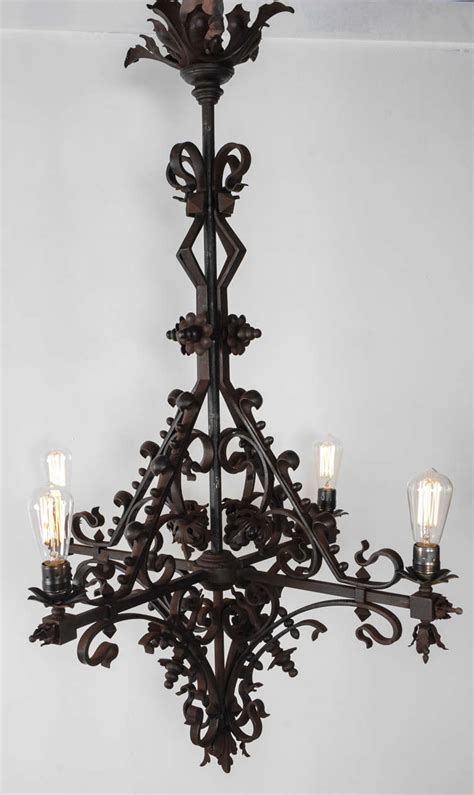 Early 20th Century Steunk Wrought Iron Church Church Chandeliers