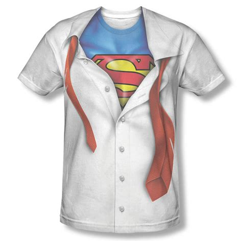 Tshirt Supermen White superman button costume sublimation white t shirt