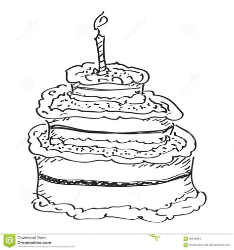 cake doodle simple doodle of a birthday cake stock vector image