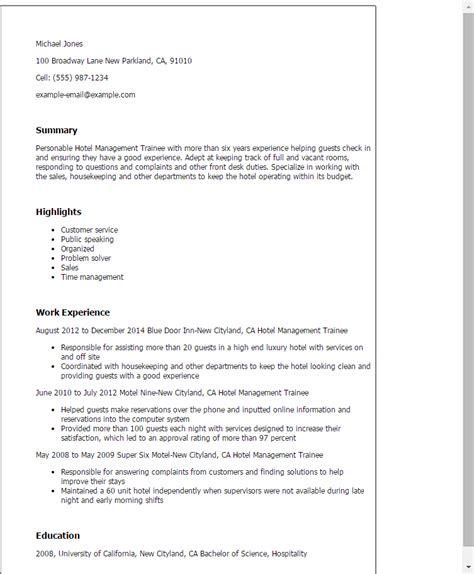 Resume Sles For Hospitality Management sle resume for hotel management fresher 28 images