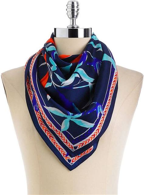 Japanese Design Print Scarf vince camuto asian floral print silk scarf in multicolor china blue lyst