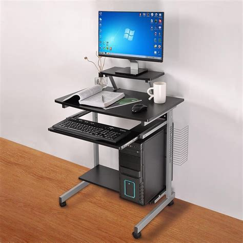 small computer workstation desk mobile computer desk compact student laptop cart rolling